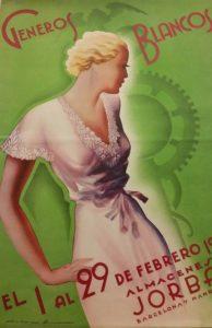 Catálogo de moda de los antiguos almacenes Can Jorba en la que aparece el dibujo de una mujer rubia con un vestido blanco y al lado la silueta del caduceo de Hermes.